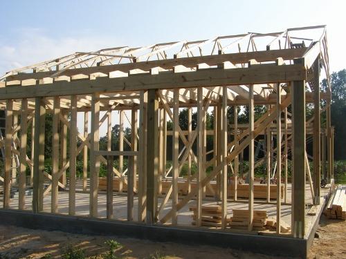 Stud Framing Interior Of Pole Barn