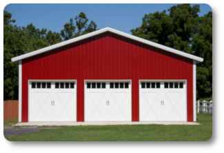 32x32x12 triple overhead doors pole barn
