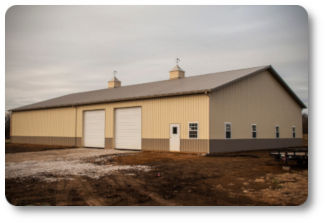 60x120x16 Office / Shop Combo Pole Barn