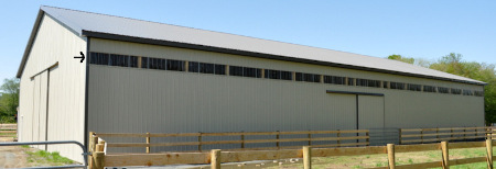 eave lite panels on riding arena