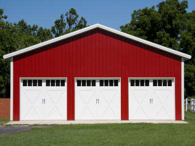 garage with carriage house doors