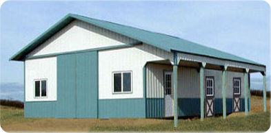 horse barn kit with porch