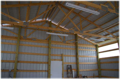 inside view of pole barn post frame construction